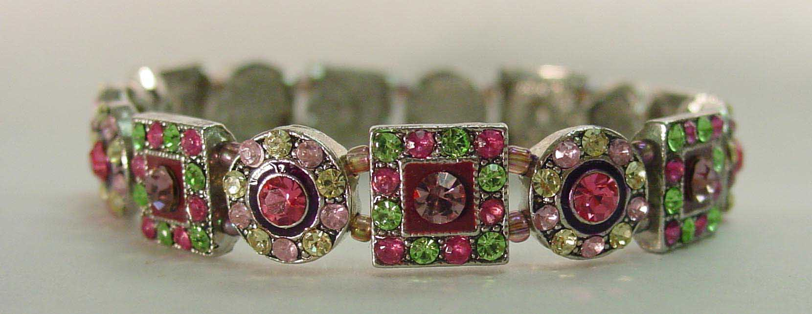Pink multi & green crystal rhodium plated bracelet