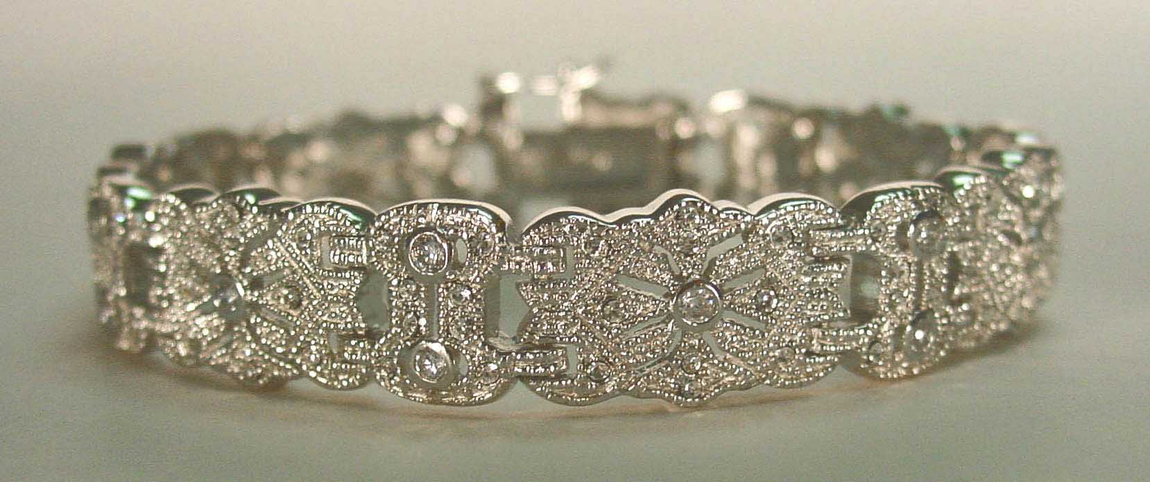 Silver bracelet with CZs and crystal pave