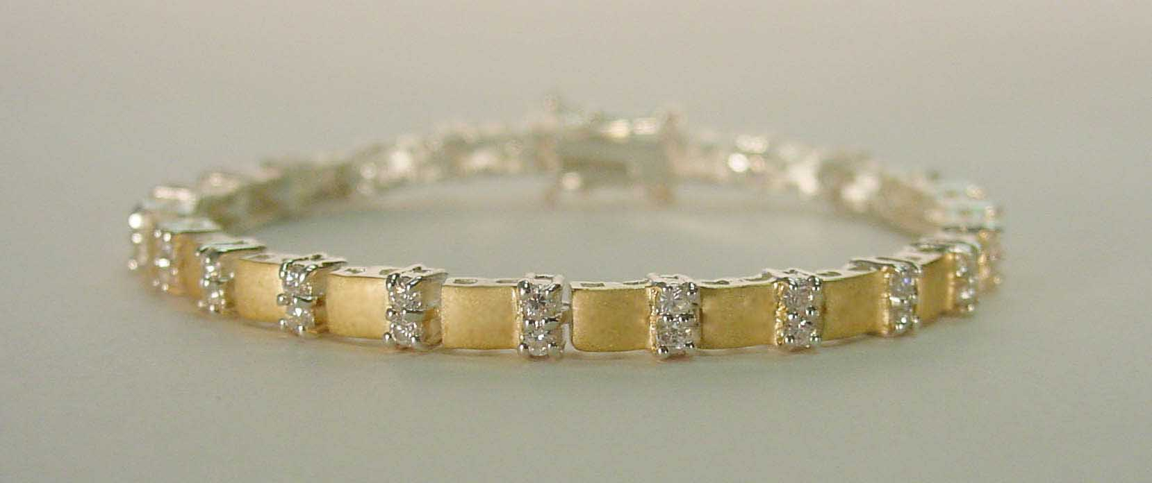 Clear CZ double matte gold bracelet