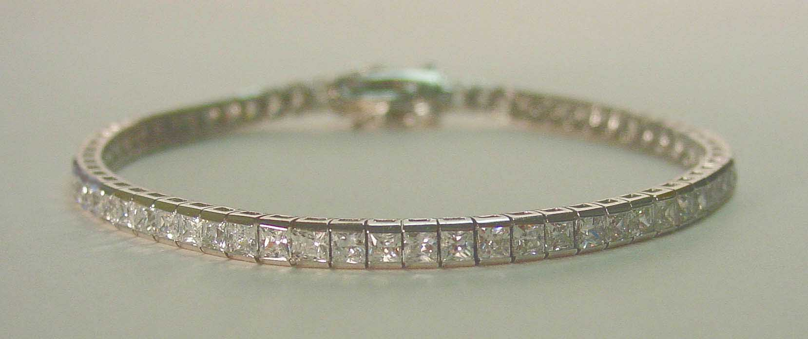 Clear CZ 2.5 mm tennis silver rhodium plated bracelet