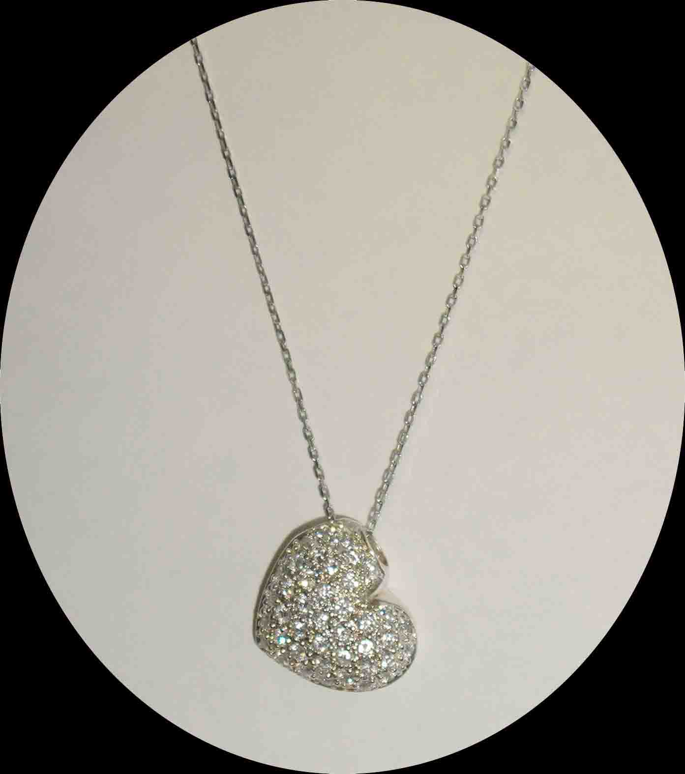 CZ encrusted side heart pendant necklace