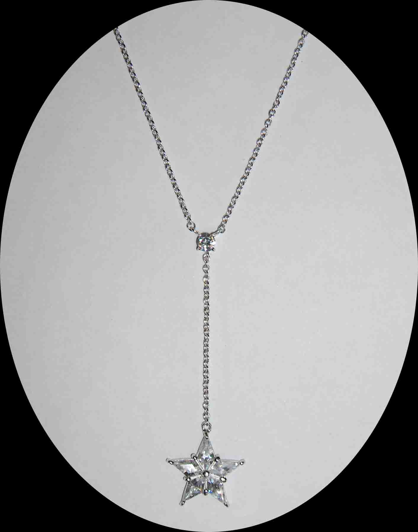 Drop CZ star silver necklace