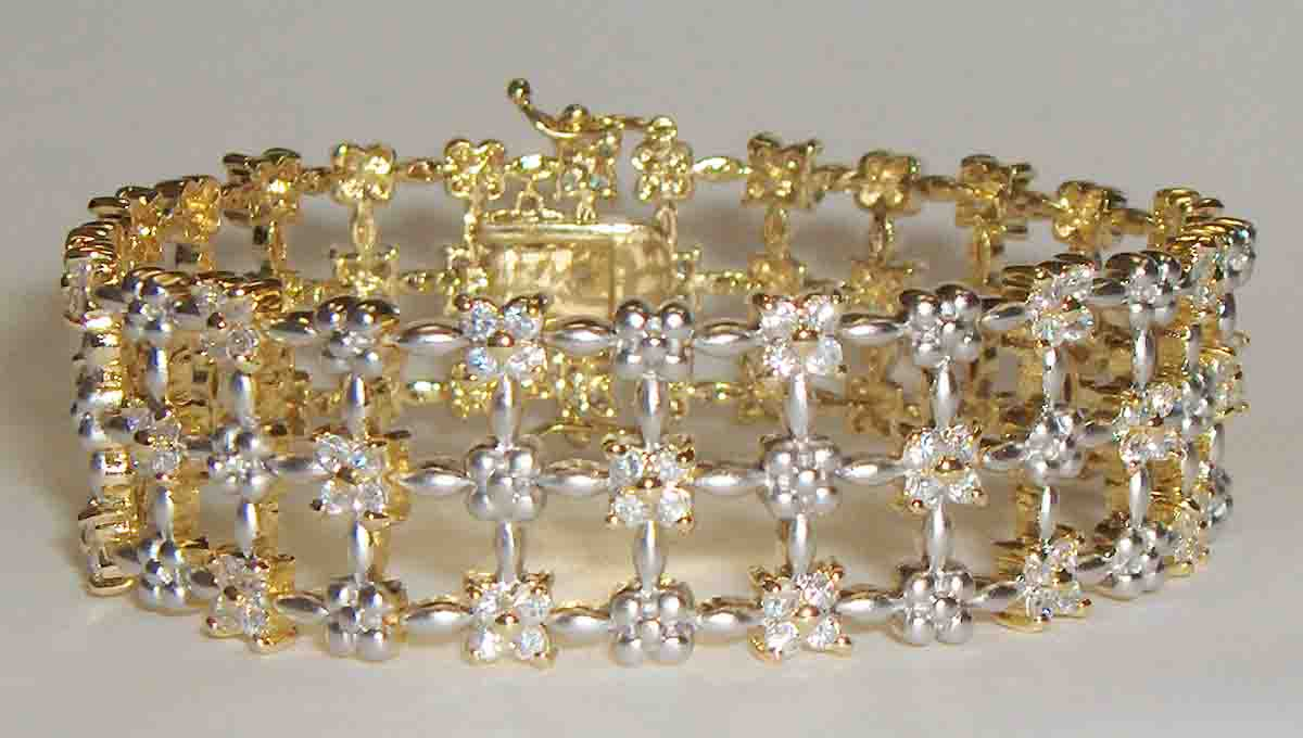 3 row two tone CZ mesh bracelet