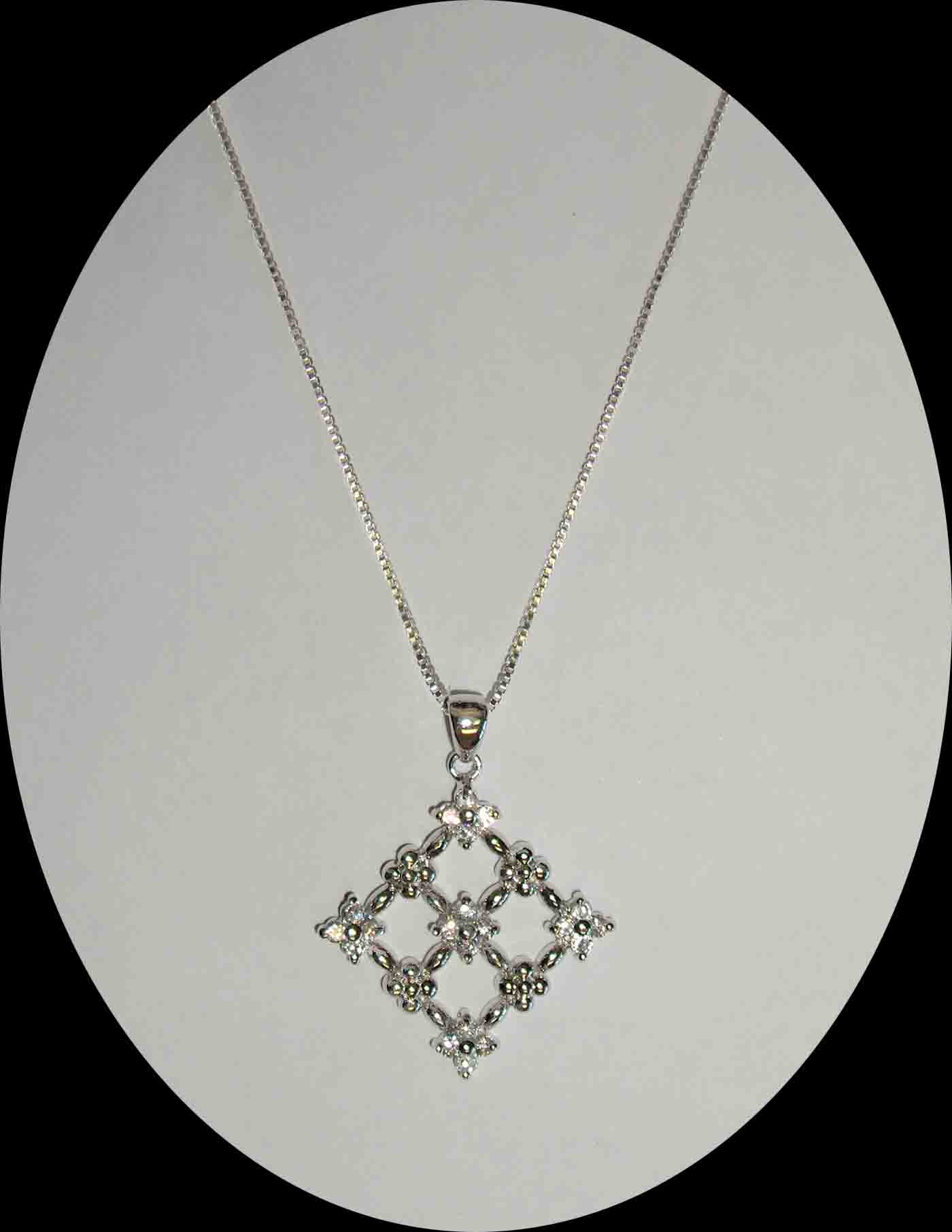 CZ mesh diamond shaped silver necklace