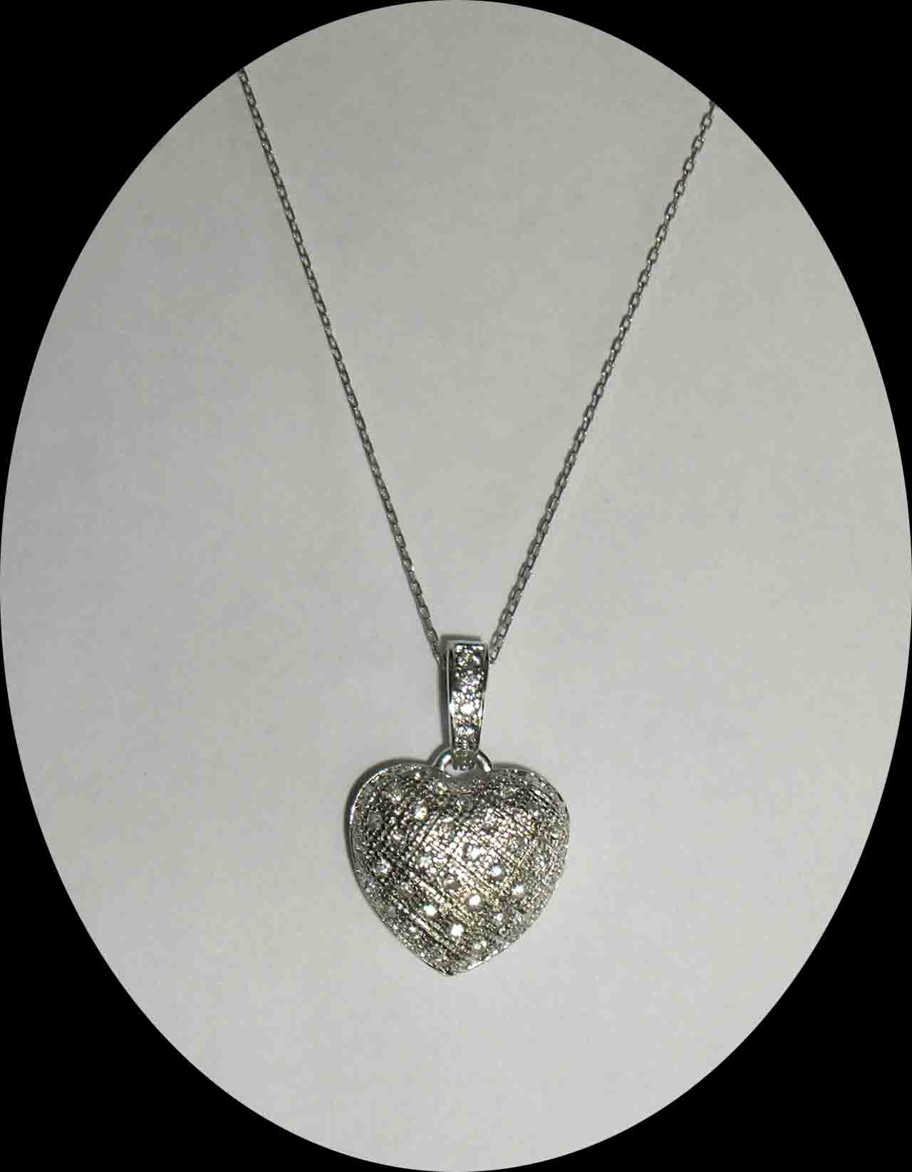 CZ encrusted puffed heart