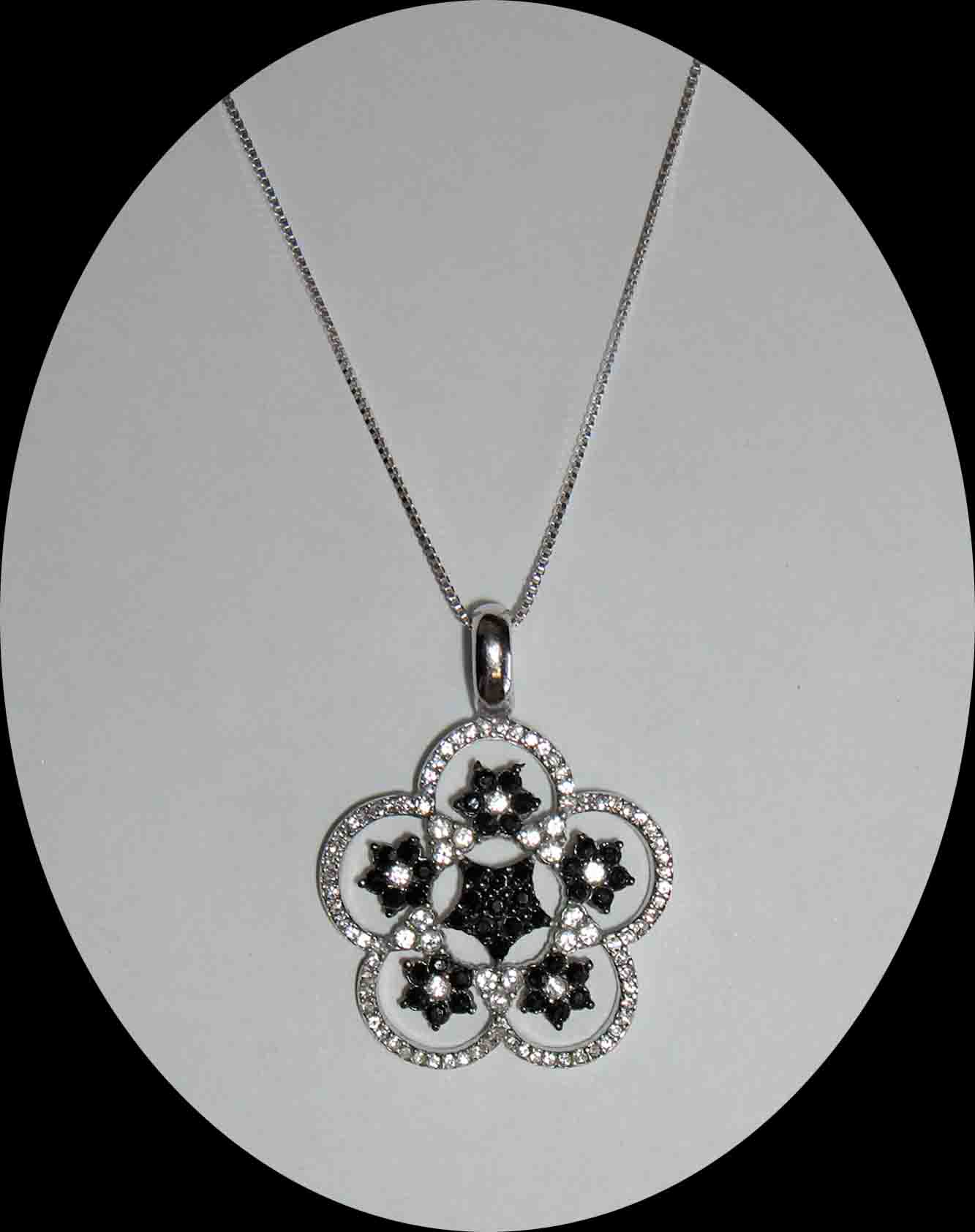 Black & White CZ flower cloud necklace