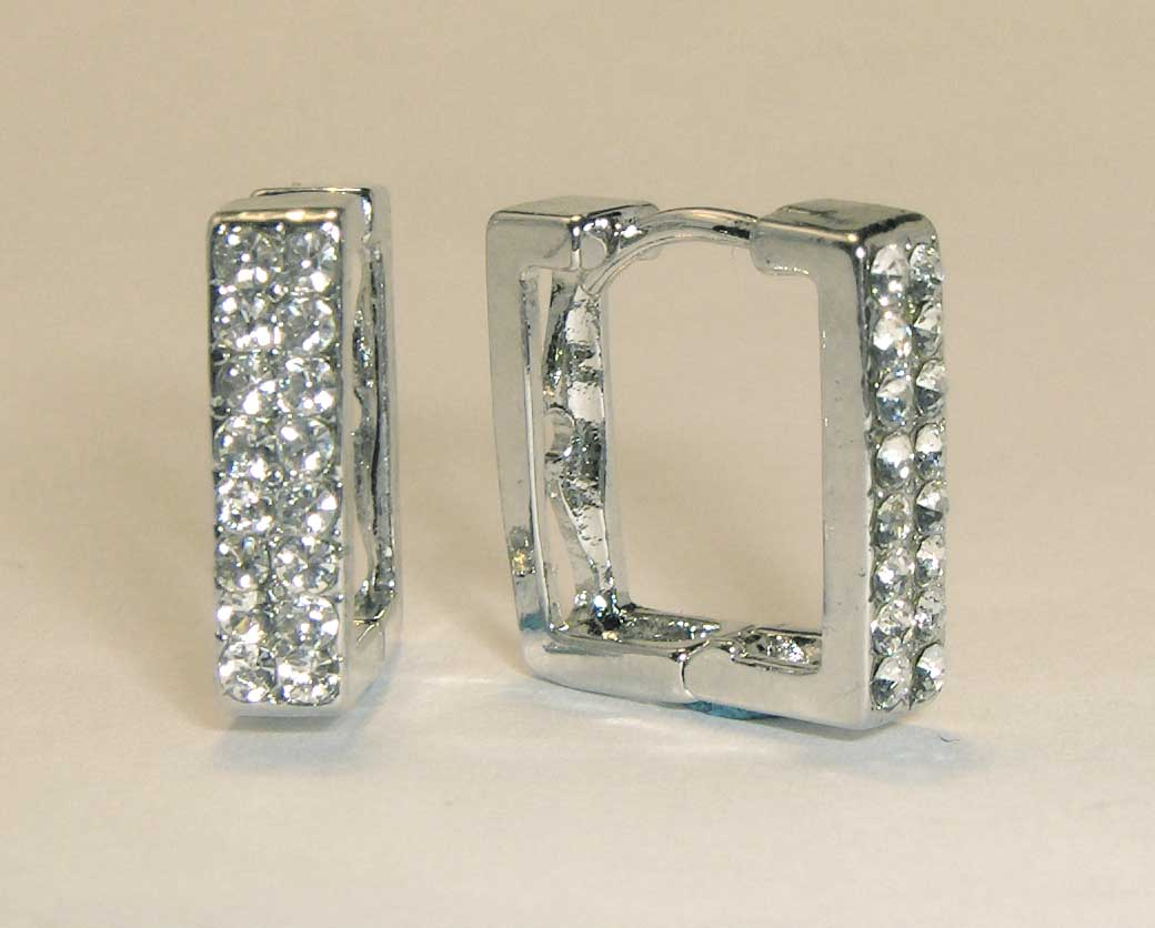 Double row crystal square hoops