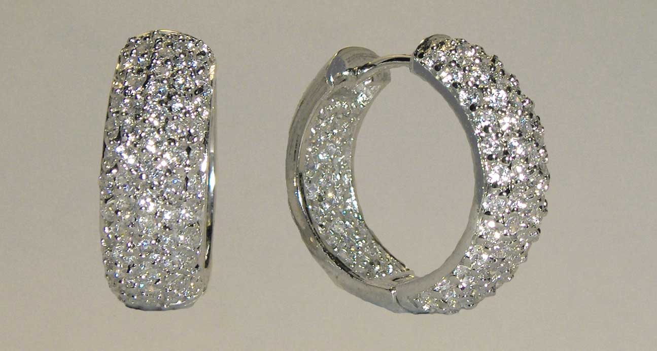 White CZ crusted medium silver hoops