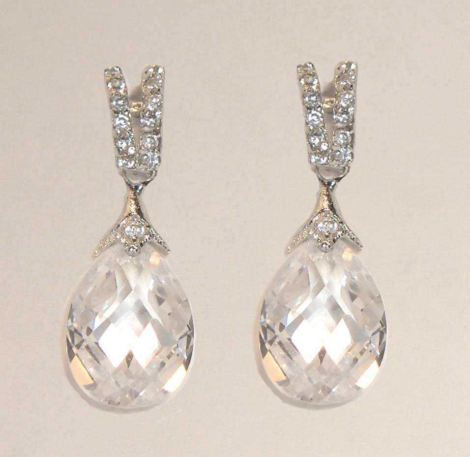 White faceted crystal drop earrings