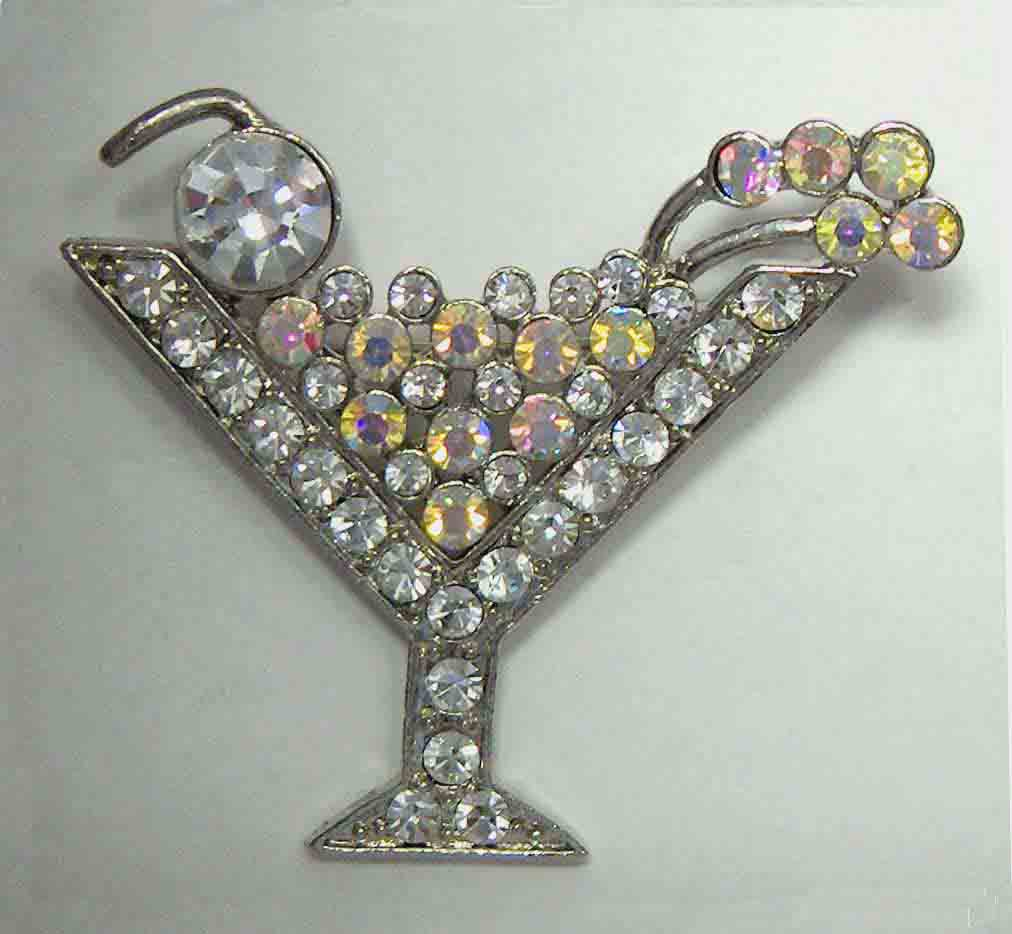 White, white aurora crystal martini pin