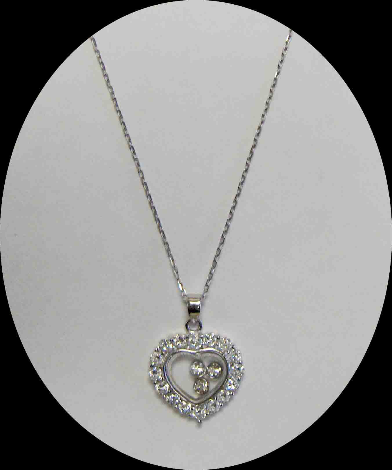Floating CZ heart pendant necklace