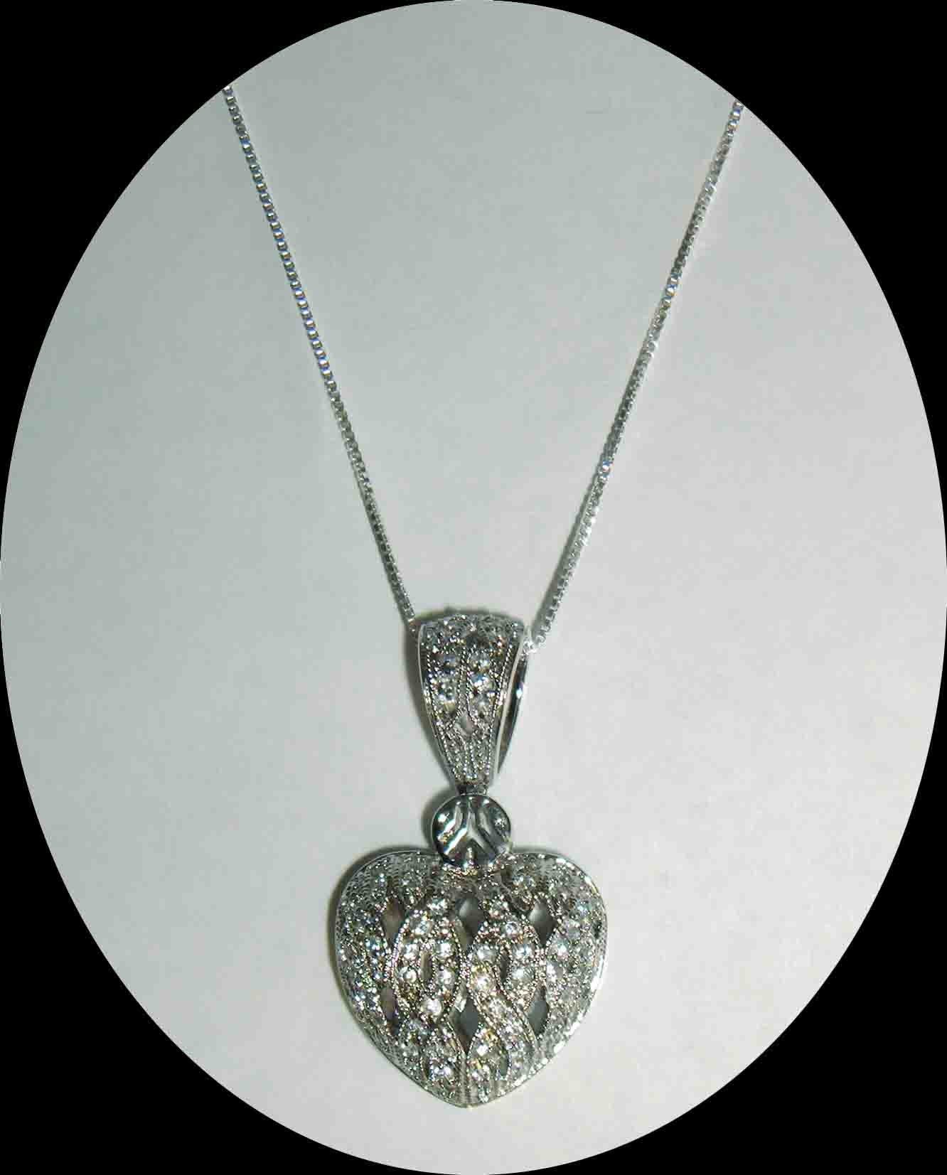 CZ encrusted puffed heart pendant necklace