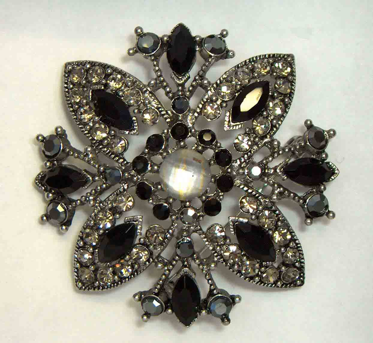 Black MOP flower crystal pin