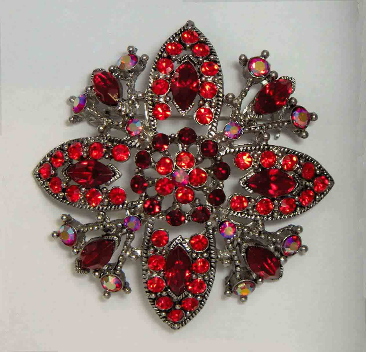 Red with red aurora crystal flower pin
