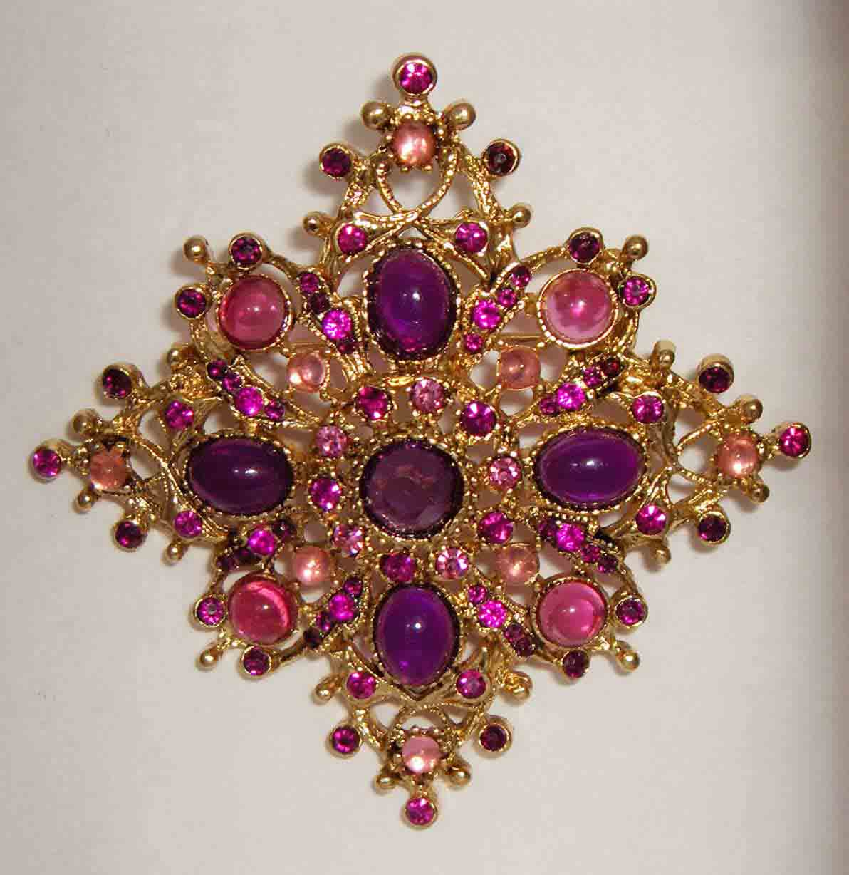 Purple, pink, MOP diamond shaped pin