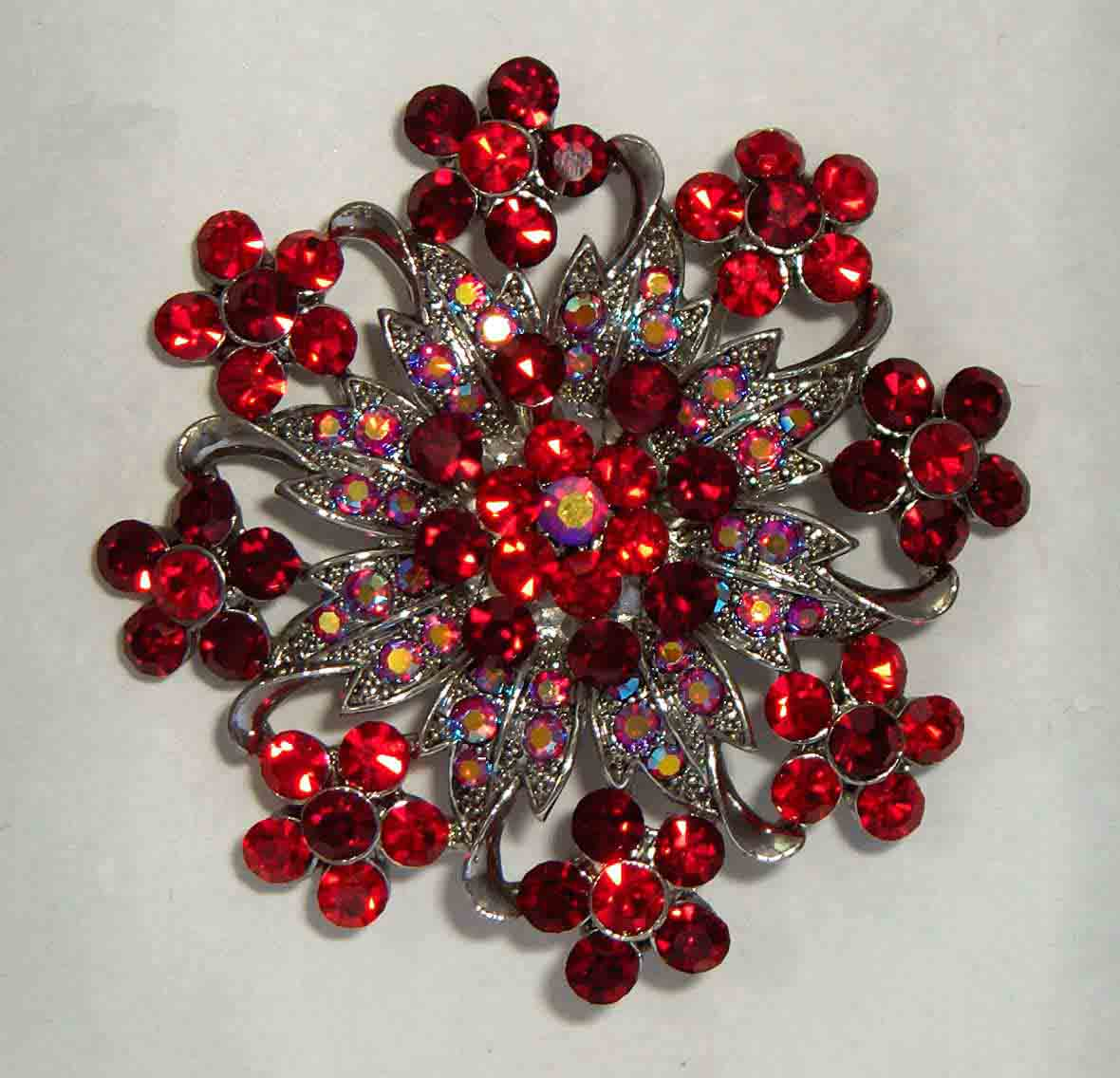 Red, red aurora crystal flower pin