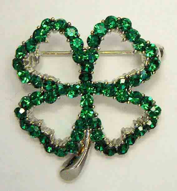 Green crystal open shamrock pin