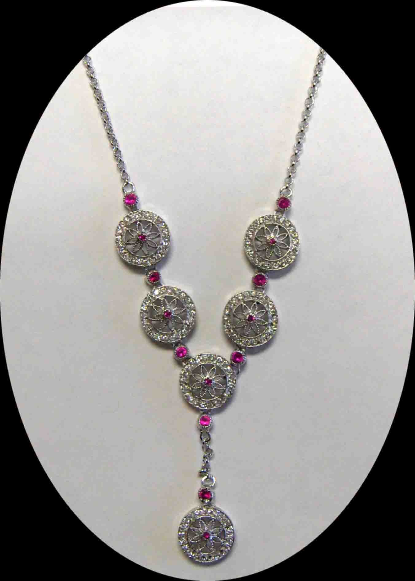 Ruby & clear CZ lace necklace