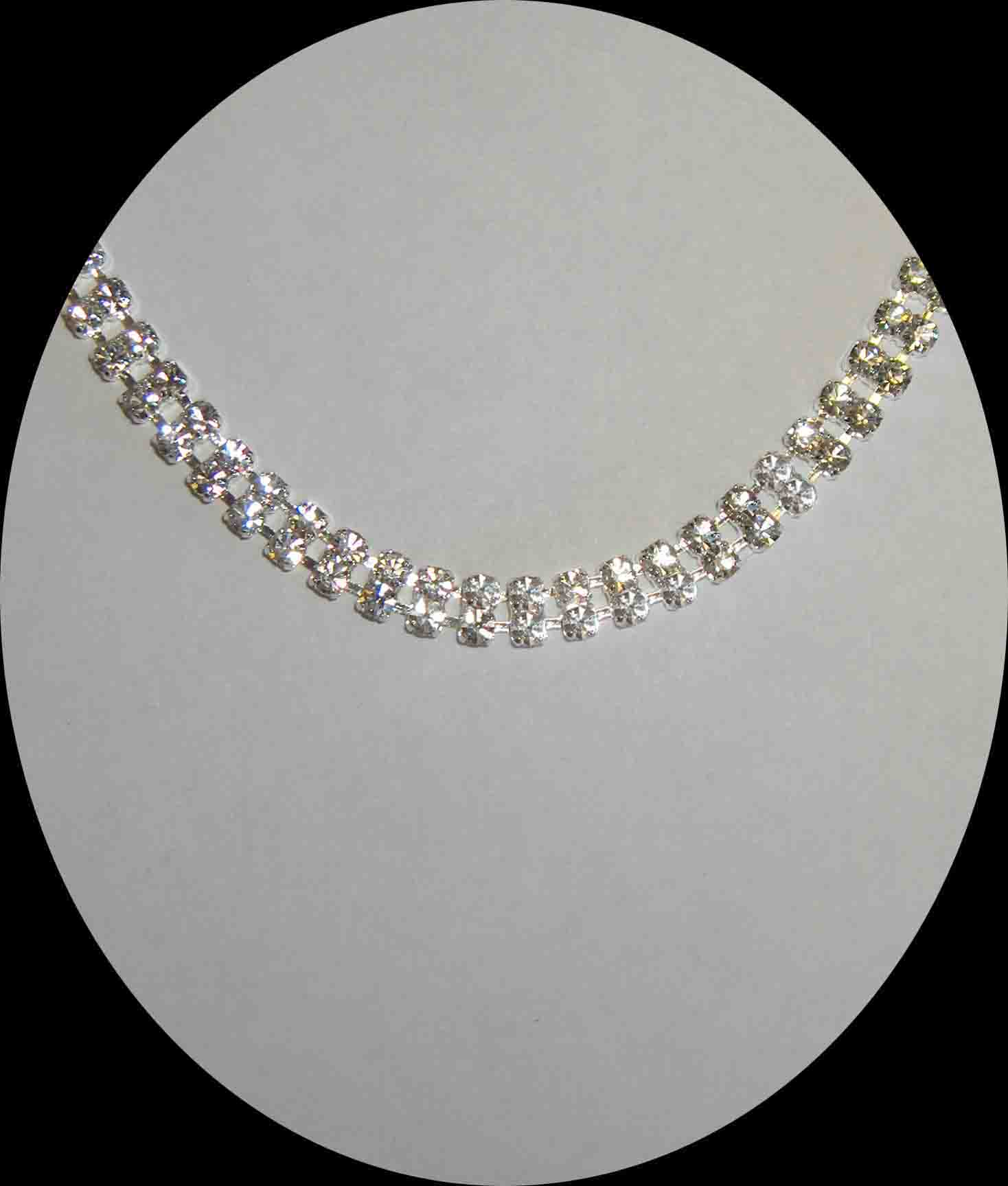 Double row rhinestone necklace
