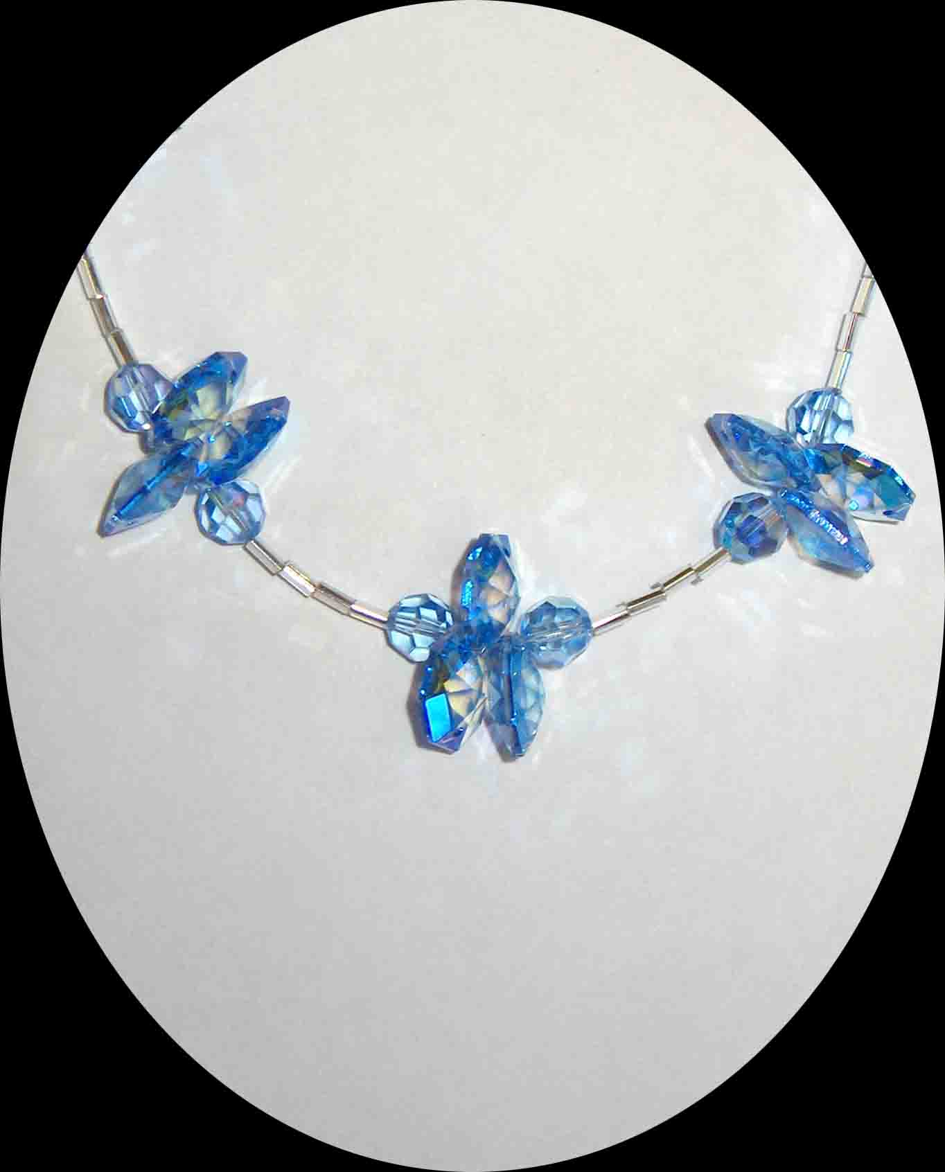 Blue Aurora Swarovski Flower Necklace